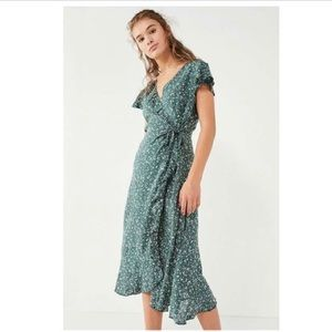 Urban outfitters Green floral wrap dress
